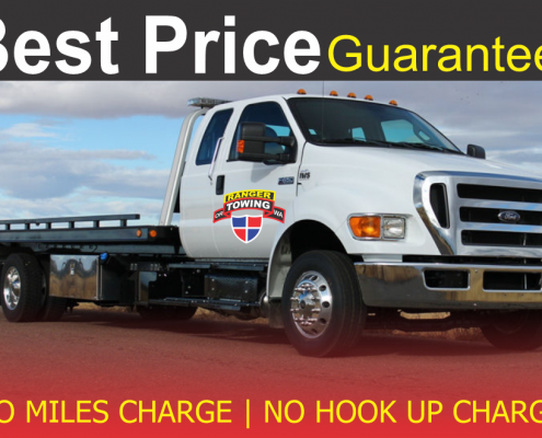 Tow truck on the road, towing services, read assistance